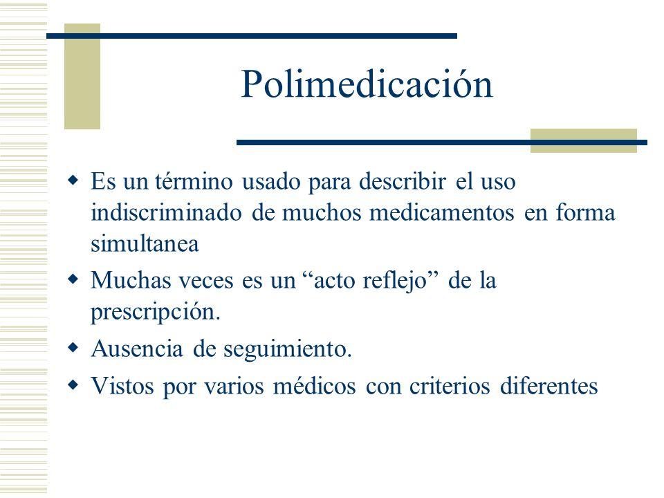 Polimedicación Es un término usado para describir el uso indiscriminado de muchos medicamentos en forma simultanea Muchas veces es un acto reflejo de