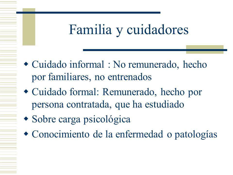 Familia y cuidadores Cuidado informal : No remunerado, hecho por familiares, no entrenados Cuidado formal: Remunerado, hecho por persona contratada, q