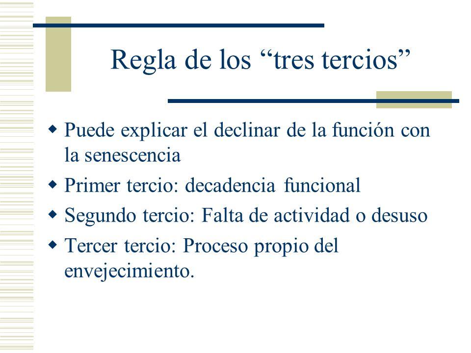 Regla de los tres tercios Puede explicar el declinar de la función con la senescencia Primer tercio: decadencia funcional Segundo tercio: Falta de act
