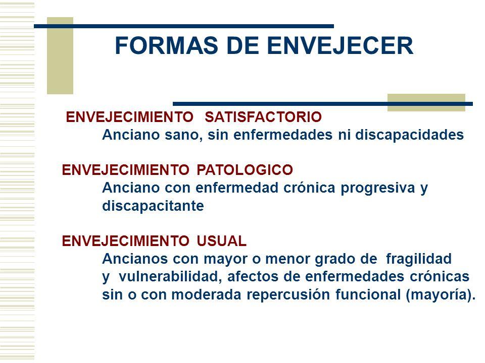 CAMBIOS CON EL ENVEJECIMIENTO DECLINAR FISIOLOGICO DE LOS ORGANOS Y SISTEMAS DISMINUCION DE LA RESERVA FUNCIONAL PRESENCIA DE ENFERMEDADES CRONICAS MAYOR FRAGIBILIDAD Y VULNERABILIDAD MAYOR RIESGO DE PRESENTAR COMPLICACIONES