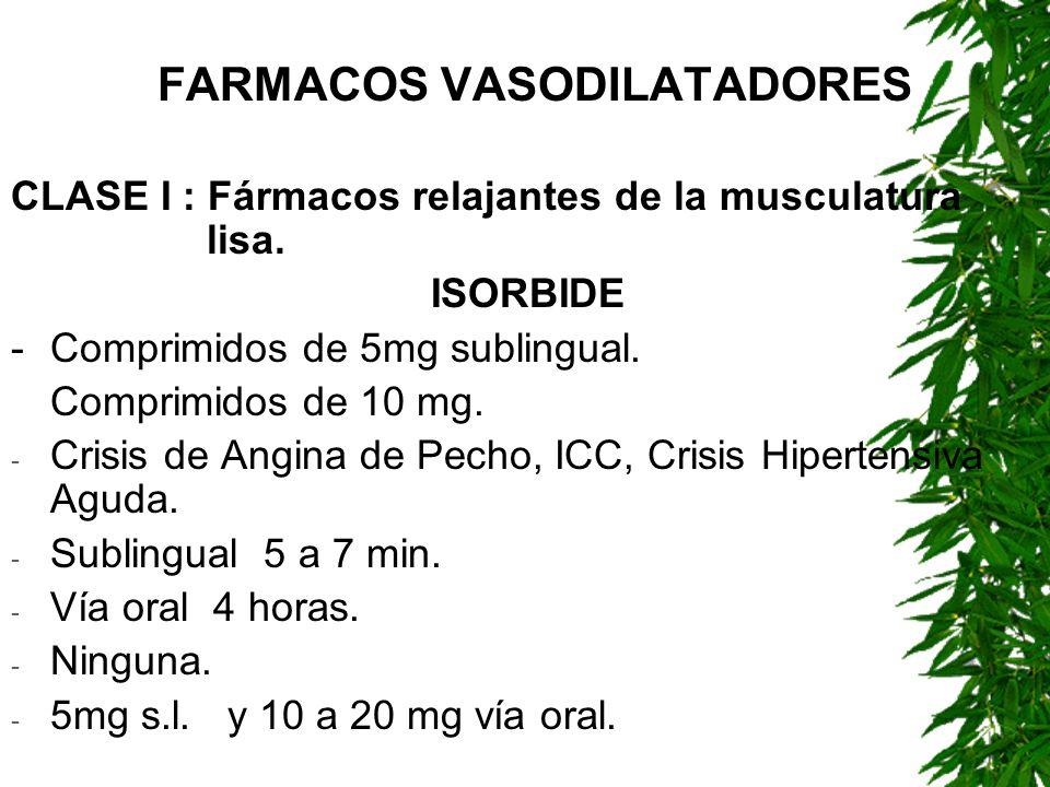 FARMACOS VASODILATADORES CLASE I : Fármacos relajantes de la musculatura lisa. ISORBIDE -Comprimidos de 5mg sublingual. Comprimidos de 10 mg. - Crisis