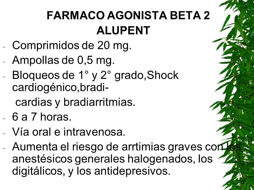 FARMACO AGONISTA BETA 2 ALUPENT - Comprimidos de 20 mg. - Ampollas de 0,5 mg. - Bloqueos de 1° y 2° grado,Shock cardiogénico,bradi- cardias y bradiarr