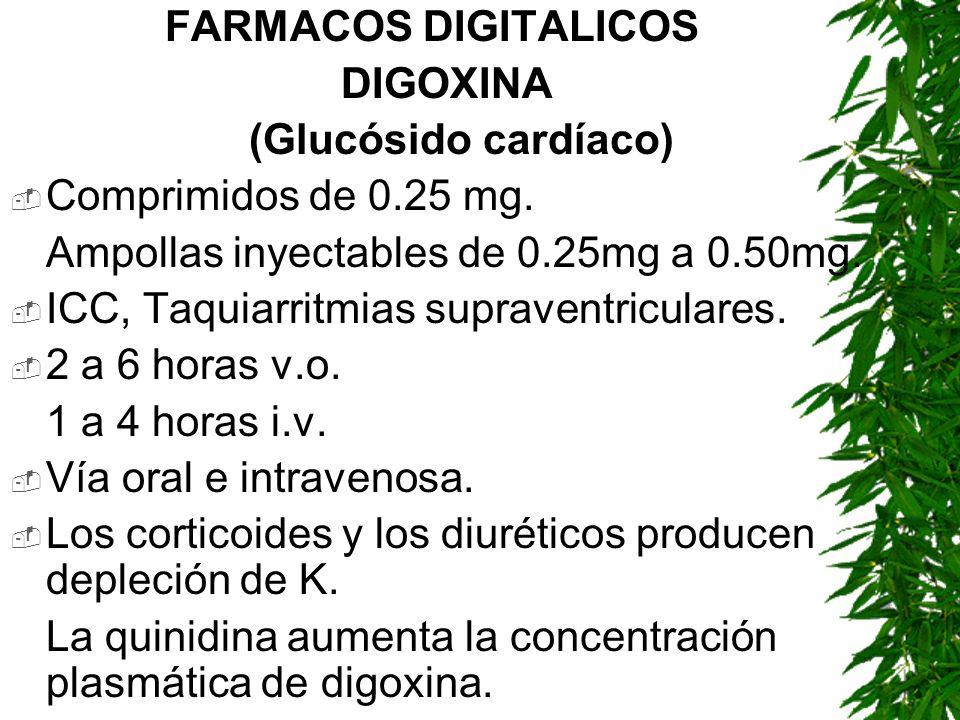 FARMACOS DIGITALICOS DIGOXINA (Glucósido cardíaco) Comprimidos de 0.25 mg. Ampollas inyectables de 0.25mg a 0.50mg. ICC, Taquiarritmias supraventricul