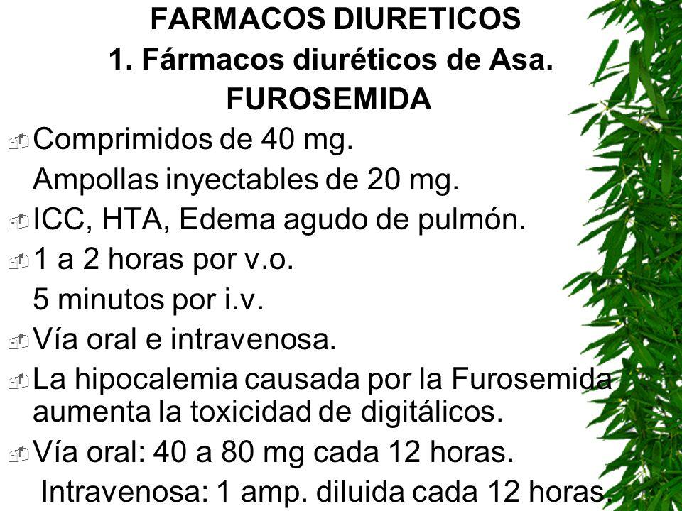 FARMACOS DIURETICOS 1. Fármacos diuréticos de Asa. FUROSEMIDA Comprimidos de 40 mg. Ampollas inyectables de 20 mg. ICC, HTA, Edema agudo de pulmón. 1