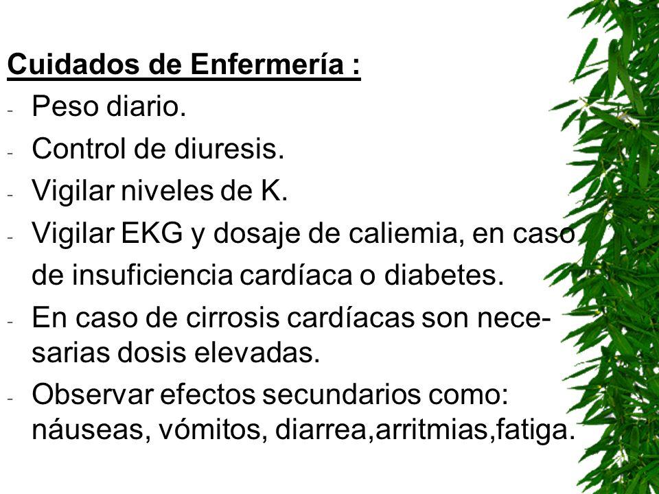Cuidados de Enfermería : - Peso diario. - Control de diuresis. - Vigilar niveles de K. - Vigilar EKG y dosaje de caliemia, en caso de insuficiencia ca