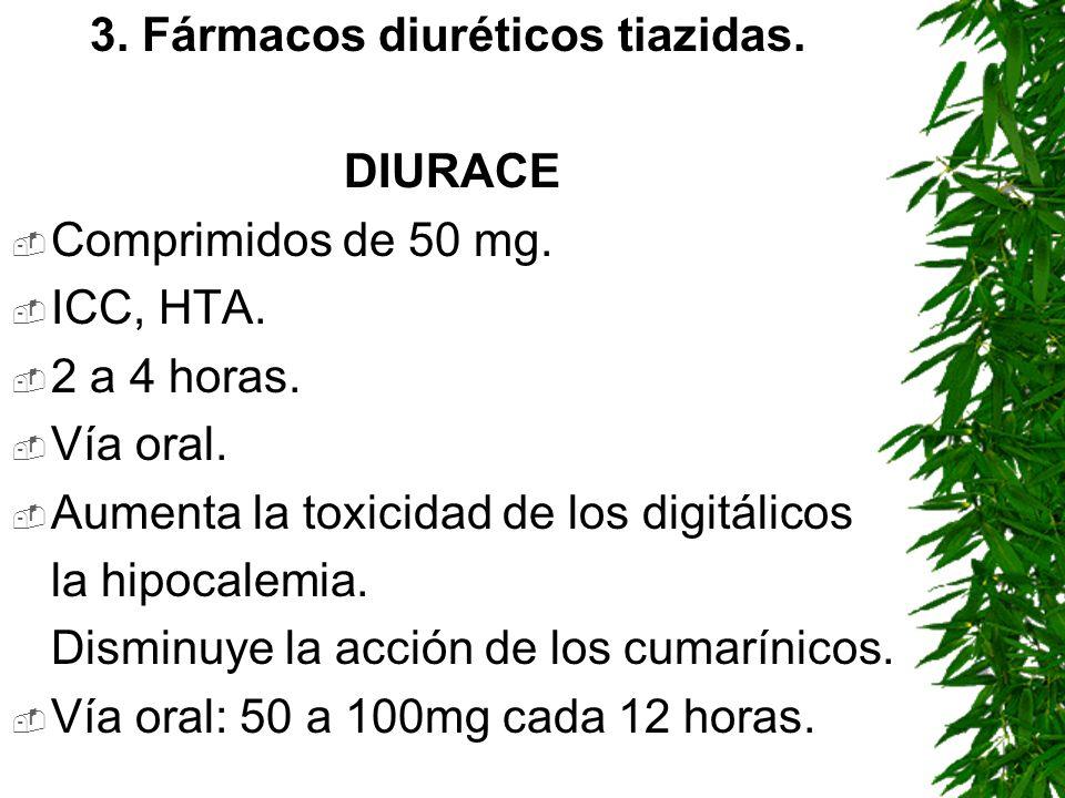 3. Fármacos diuréticos tiazidas. DIURACE Comprimidos de 50 mg. ICC, HTA. 2 a 4 horas. Vía oral. Aumenta la toxicidad de los digitálicos la hipocalemia