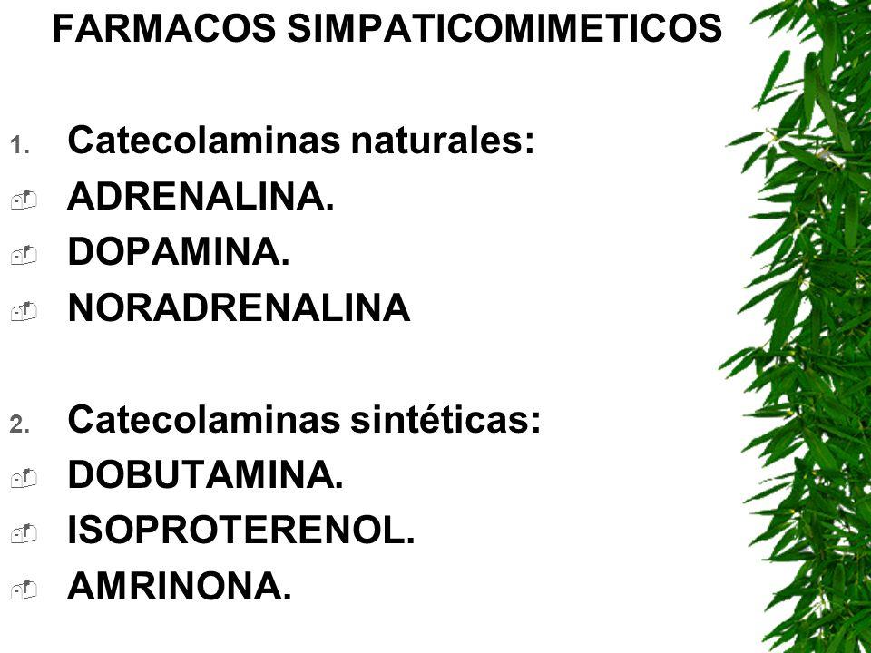 FARMACOS SIMPATICOMIMETICOS 1. Catecolaminas naturales: ADRENALINA. DOPAMINA. NORADRENALINA 2. Catecolaminas sintéticas: DOBUTAMINA. ISOPROTERENOL. AM