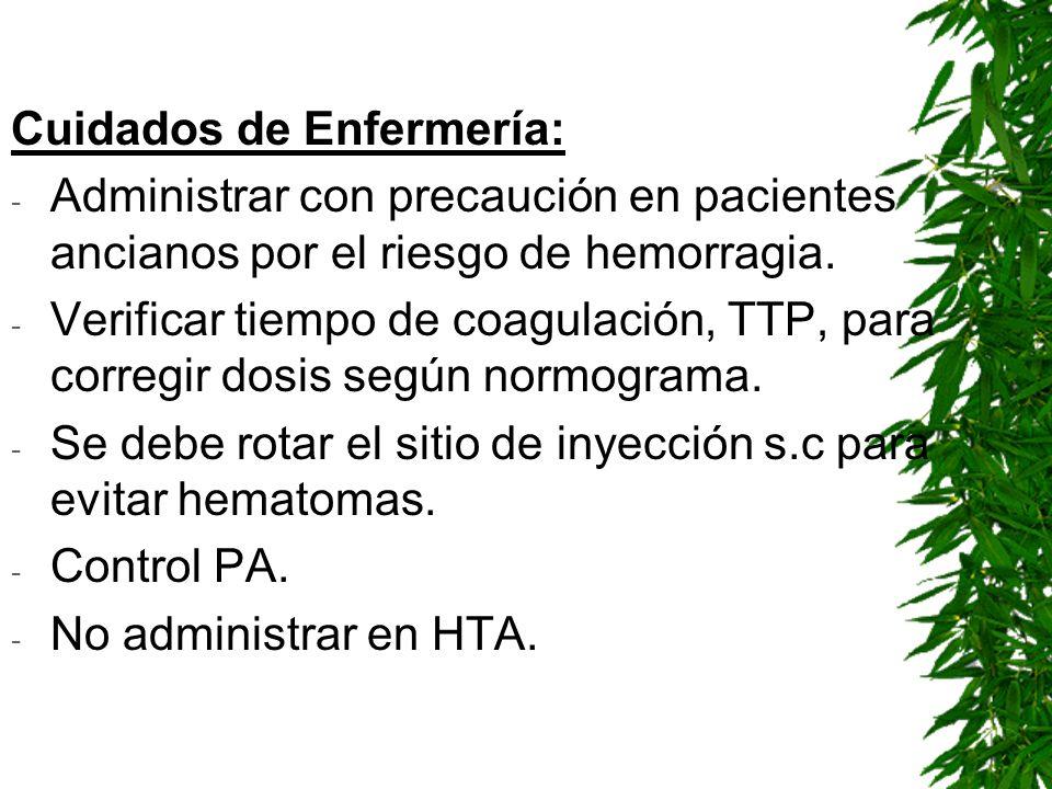 Cuidados de Enfermería: - Administrar con precaución en pacientes ancianos por el riesgo de hemorragia. - Verificar tiempo de coagulación, TTP, para c