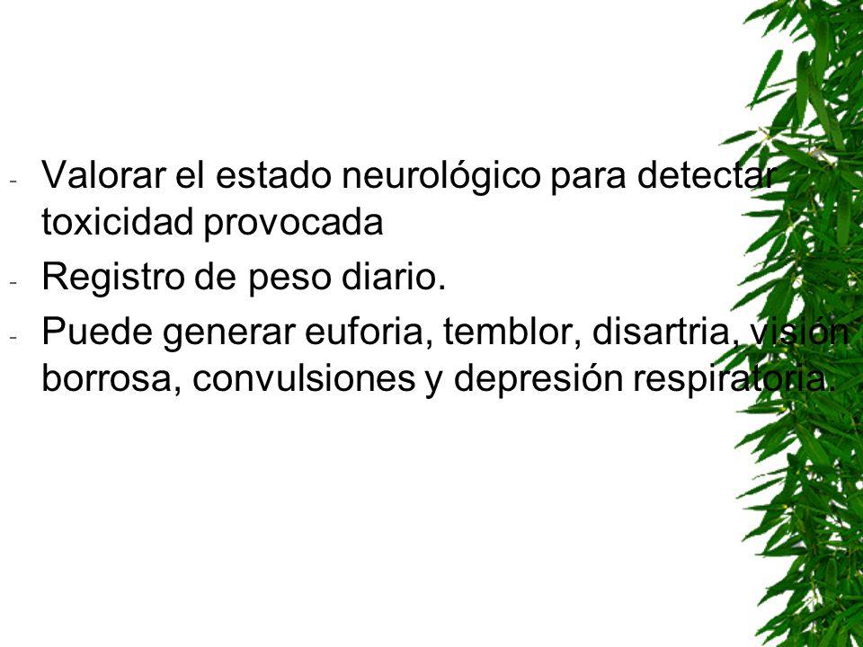 - Valorar el estado neurológico para detectar toxicidad provocada - Registro de peso diario. - Puede generar euforia, temblor, disartria, visión borro