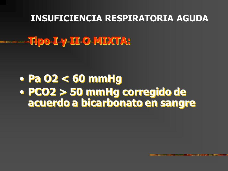 INSUFICIENCIA RESPIRATORIA AGUDA Puede clasificarse en tres tipos: Tipo I (Oxigenatoria o Hipoxémica).