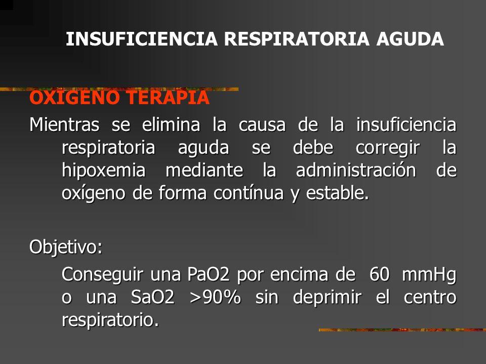 INSUFICIENCIA RESPIRATORIA AGUDA OXIGENO TERAPIA DEFINICION: Es la administración de oxígeno como medida terapéutica.