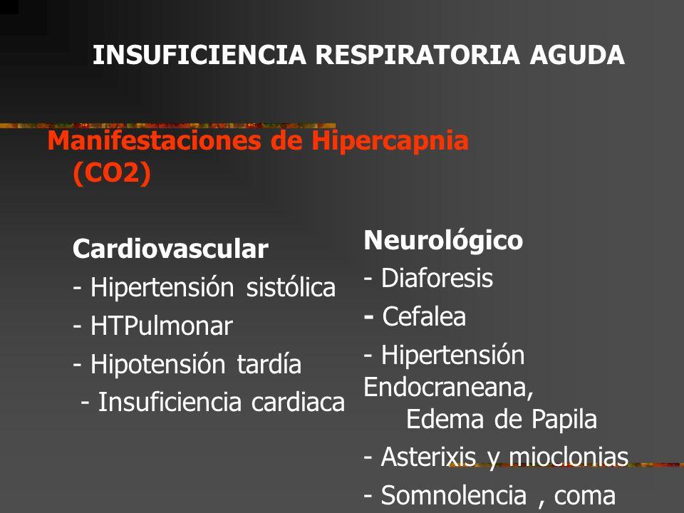 Manifestaciones del incremento del trabajo respiratorio –Disnea –Aleteo nasal –Taquípnea, ortopnea –Uso de músculos accesorios (tirajes) Manifestaciones de la Hipoxemia (O2): Neurológico.
