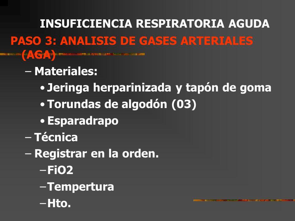 PASO 2: INCREMENTAR EL APORTE DE OXIGENO Fracción inspirada de OxígenoPaO2 esperado Atmosférica = 21%80 – 100 mmHg Bigotera 1 lt/min = 24%120 2 lt/min = 28%140 3 lt/min = 32%160 4 lt/min = 36%180 Si en el PULSOXÍMETRO la Saturación de Oxígeno está por debajo de 90% la PaO2 es menor a 60 mmHg.