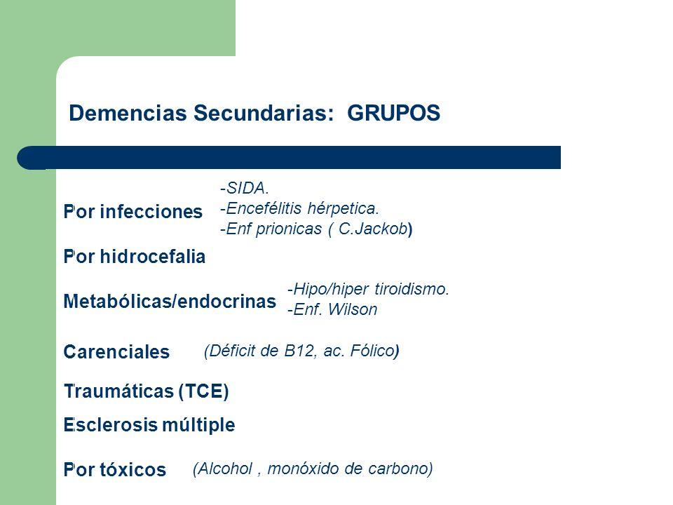 Demencias Secundarias: GRUPOS Por infecciones Por hidrocefalia Metabólicas/endocrinas Carenciales Traumáticas (TCE) Esclerosis múltiple Por tóxicos -S