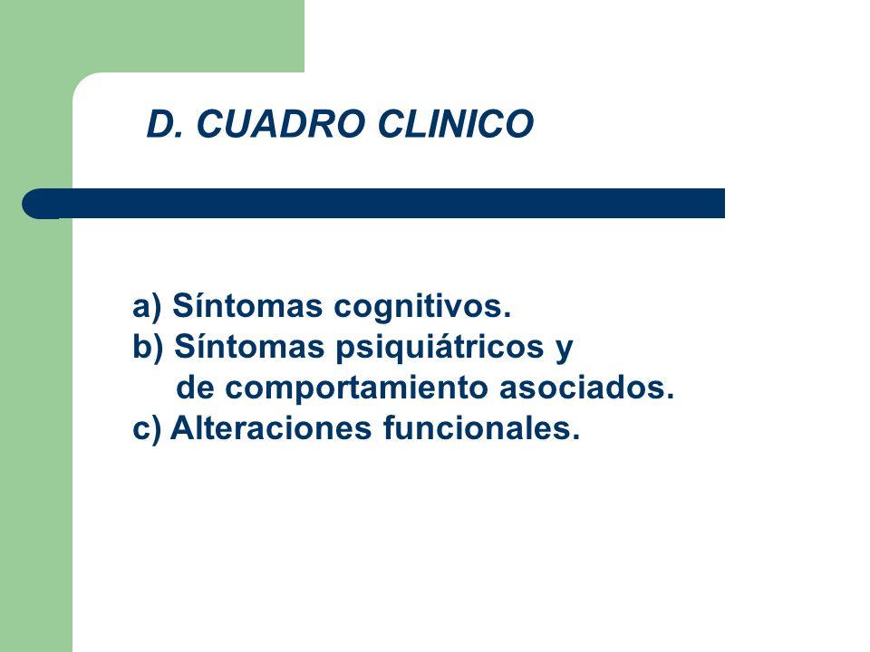 a) Síntomas cognitivos. b) Síntomas psiquiátricos y de comportamiento asociados. c) Alteraciones funcionales. D. CUADRO CLINICO