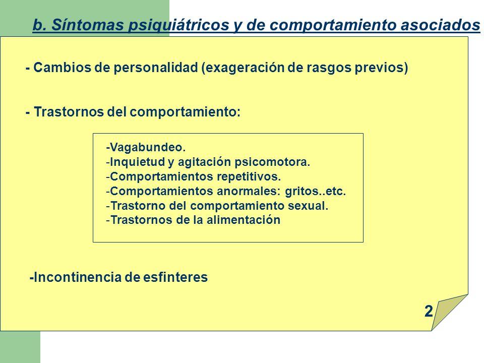 b. Síntomas psiquiátricos y de comportamiento asociados - Cambios de personalidad (exageración de rasgos previos) - Trastornos del comportamiento: -Va