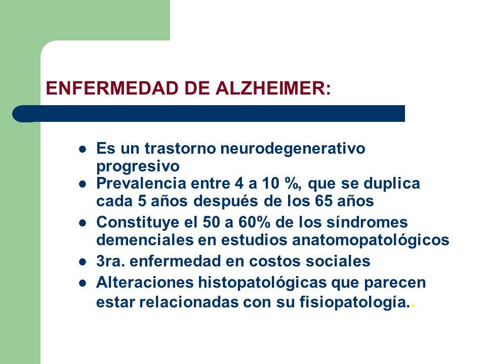 ENFERMEDAD DE ALZHEIMER: Es un trastorno neurodegenerativo progresivo Prevalencia entre 4 a 10 %, que se duplica cada 5 años después de los 65 años Co