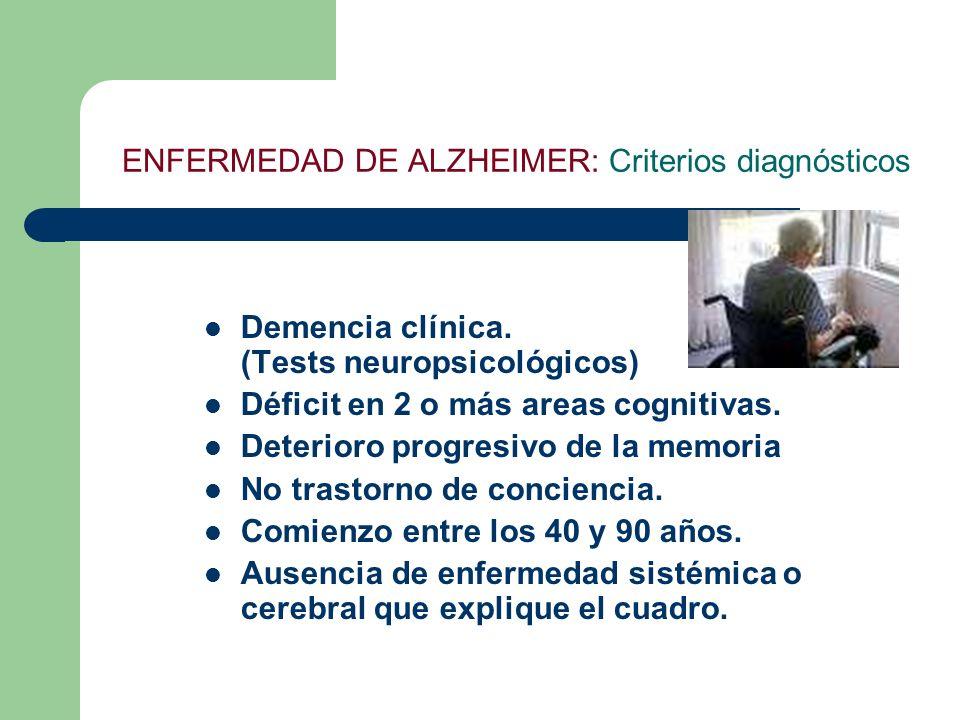 ENFERMEDAD DE ALZHEIMER: Criterios diagnósticos Demencia clínica. (Tests neuropsicológicos) Déficit en 2 o más areas cognitivas. Deterioro progresivo