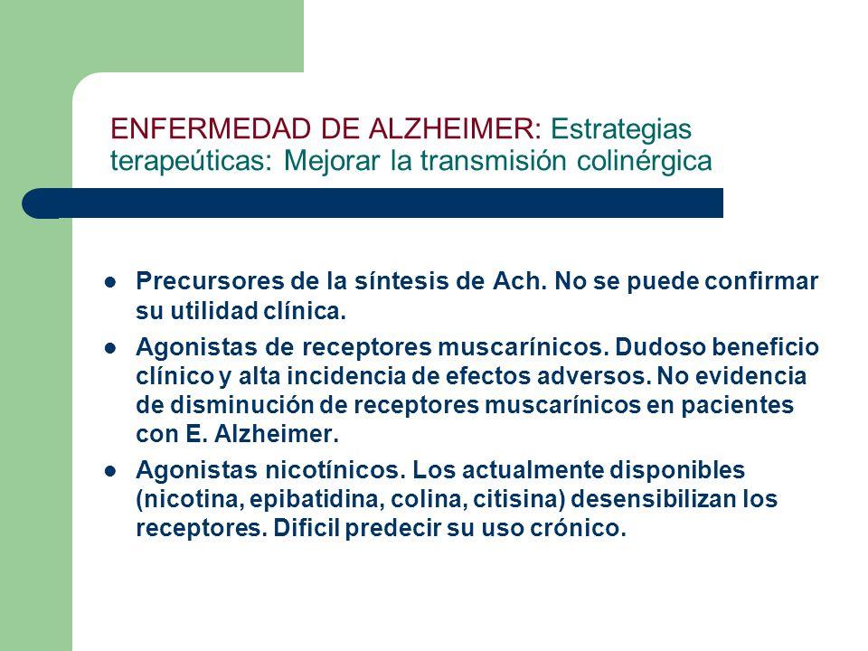 ENFERMEDAD DE ALZHEIMER: Estrategias terapeúticas: Mejorar la transmisión colinérgica Precursores de la síntesis de Ach. No se puede confirmar su util