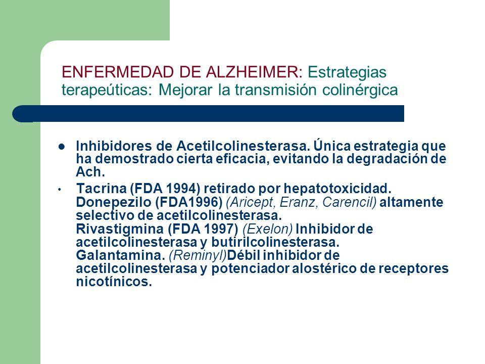 ENFERMEDAD DE ALZHEIMER: Estrategias terapeúticas: Mejorar la transmisión colinérgica Inhibidores de Acetilcolinesterasa. Única estrategia que ha demo