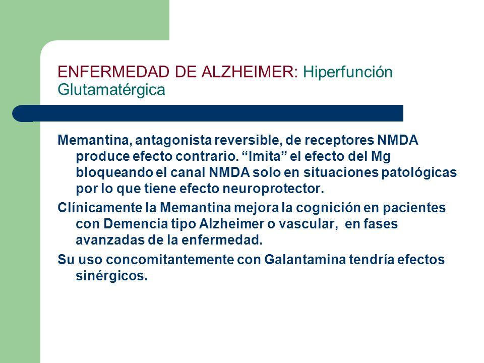 ENFERMEDAD DE ALZHEIMER: Hiperfunción Glutamatérgica Memantina, antagonista reversible, de receptores NMDA produce efecto contrario. Imita el efecto d