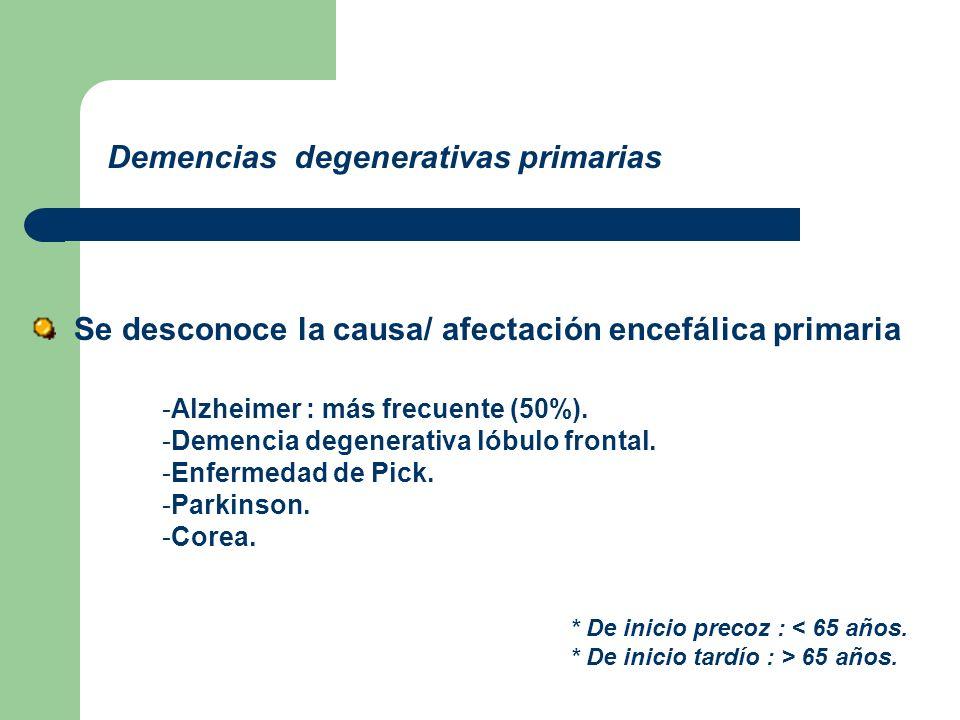 Demencias degenerativas primarias * De inicio precoz : < 65 años. * De inicio tardío : > 65 años. Se desconoce la causa/ afectación encefálica primari