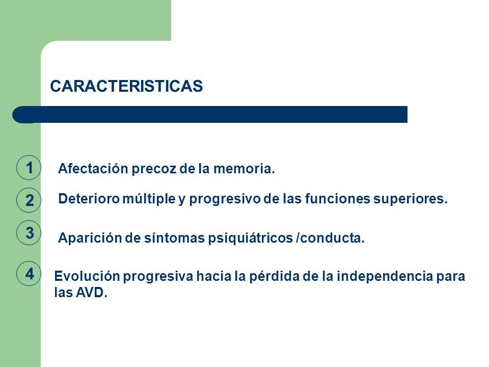 CARACTERISTICAS 1 Afectación precoz de la memoria. Deterioro múltiple y progresivo de las funciones superiores. 2 Aparición de síntomas psiquiátricos