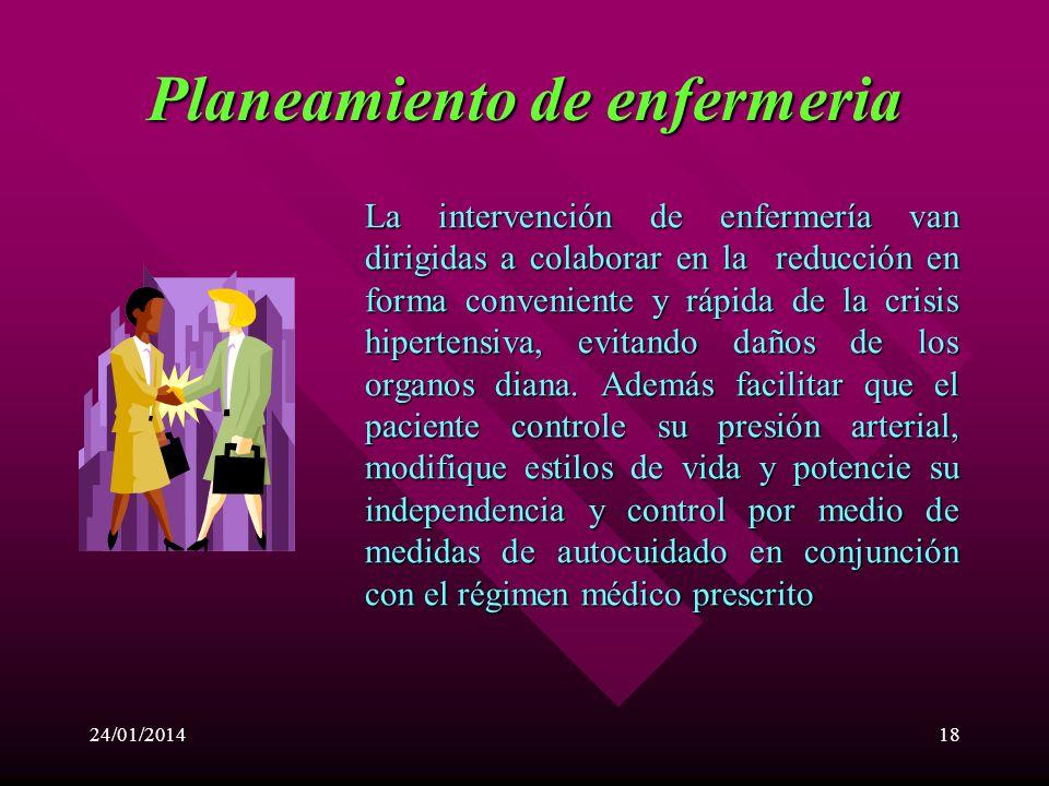 24/01/201417 Alteración del patrón hemodinámico relacionado a la tensión arterial elevada. Potencial alteración de la perfusión hística (cerebral, ren