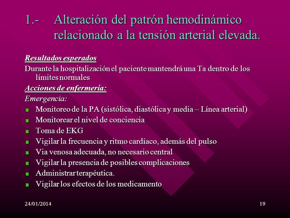 24/01/201418 Planeamiento de enfermeria La intervención de enfermería van dirigidas a colaborar en la reducción en forma conveniente y rápida de la cr