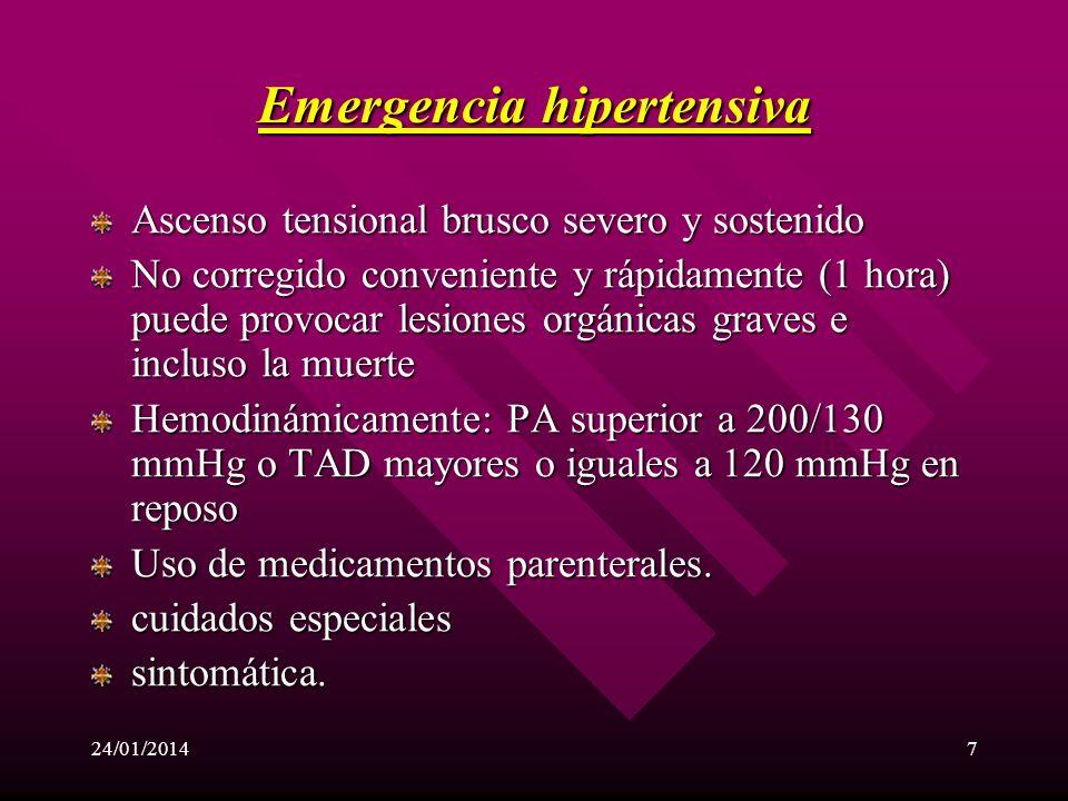 24/01/20146 CRISIS HIPERTENSIVA Emergencia hipertensiva. Urgencia Hipertensiva