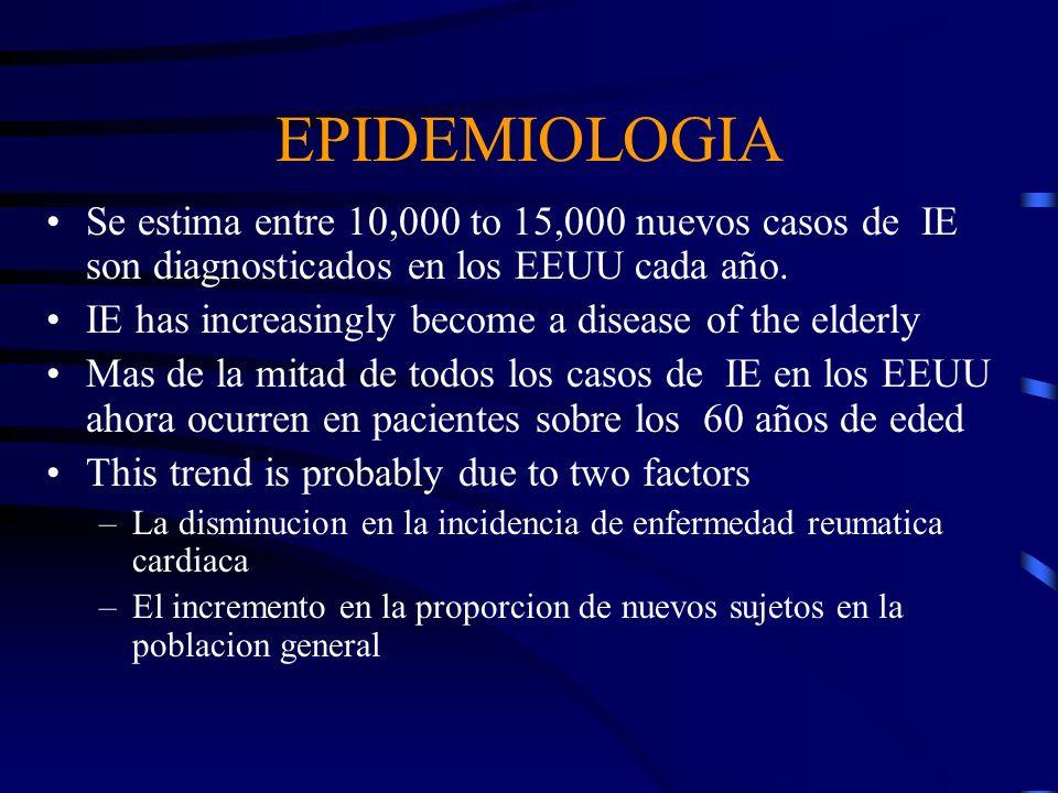 EPIDEMIOLOGIA Se estima entre 10,000 to 15,000 nuevos casos de IE son diagnosticados en los EEUU cada año. IE has increasingly become a disease of the