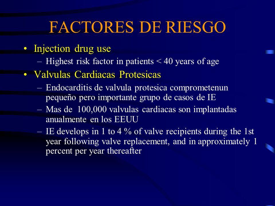 FACTORES DE RIESGO Injection drug use –Highest risk factor in patients < 40 years of age Valvulas Cardiacas Protesicas –Endocarditis de valvula protes