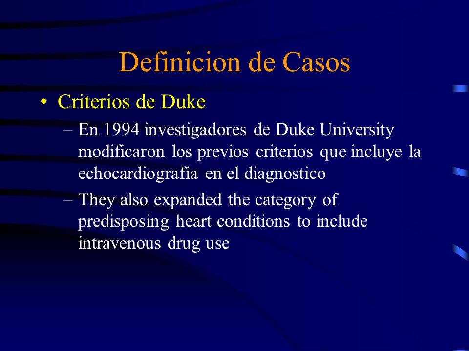 Definicion de Casos Criterios de Duke –En 1994 investigadores de Duke University modificaron los previos criterios que incluye la echocardiografia en