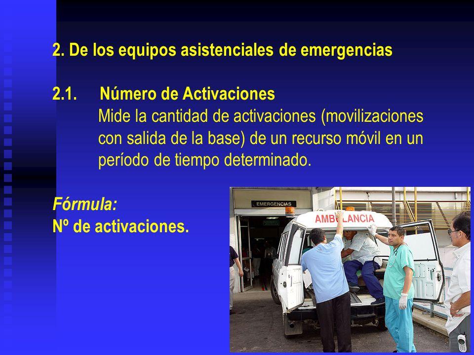 2. De los equipos asistenciales de emergencias 2.1.Número de Activaciones Mide la cantidad de activaciones (movilizaciones con salida de la base) de u