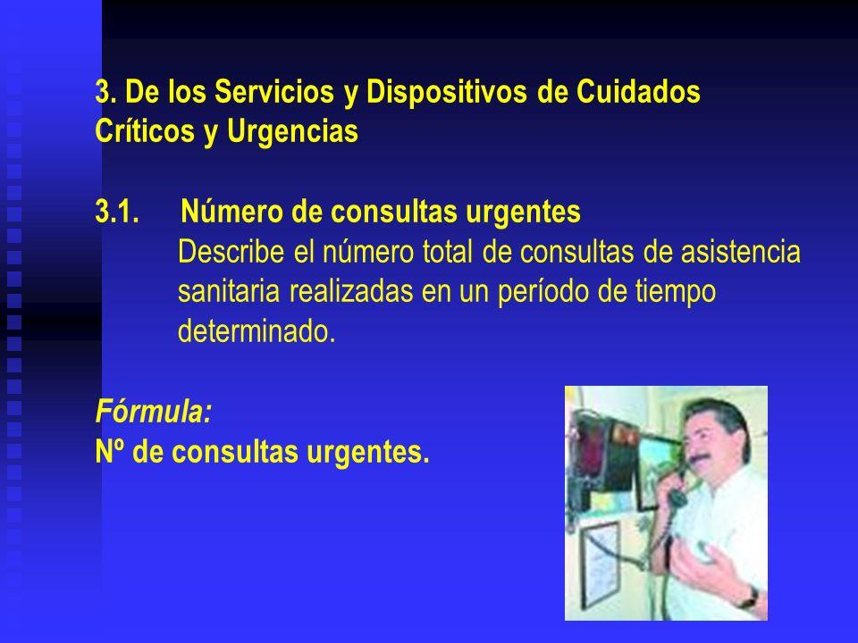 3. De los Servicios y Dispositivos de Cuidados Críticos y Urgencias 3.1.Número de consultas urgentes Describe el número total de consultas de asistenc