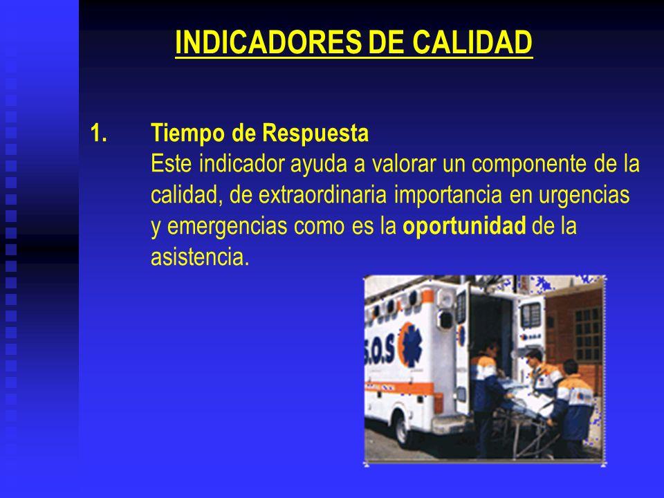 1.Tiempo de Respuesta Este indicador ayuda a valorar un componente de la calidad, de extraordinaria importancia en urgencias y emergencias como es la