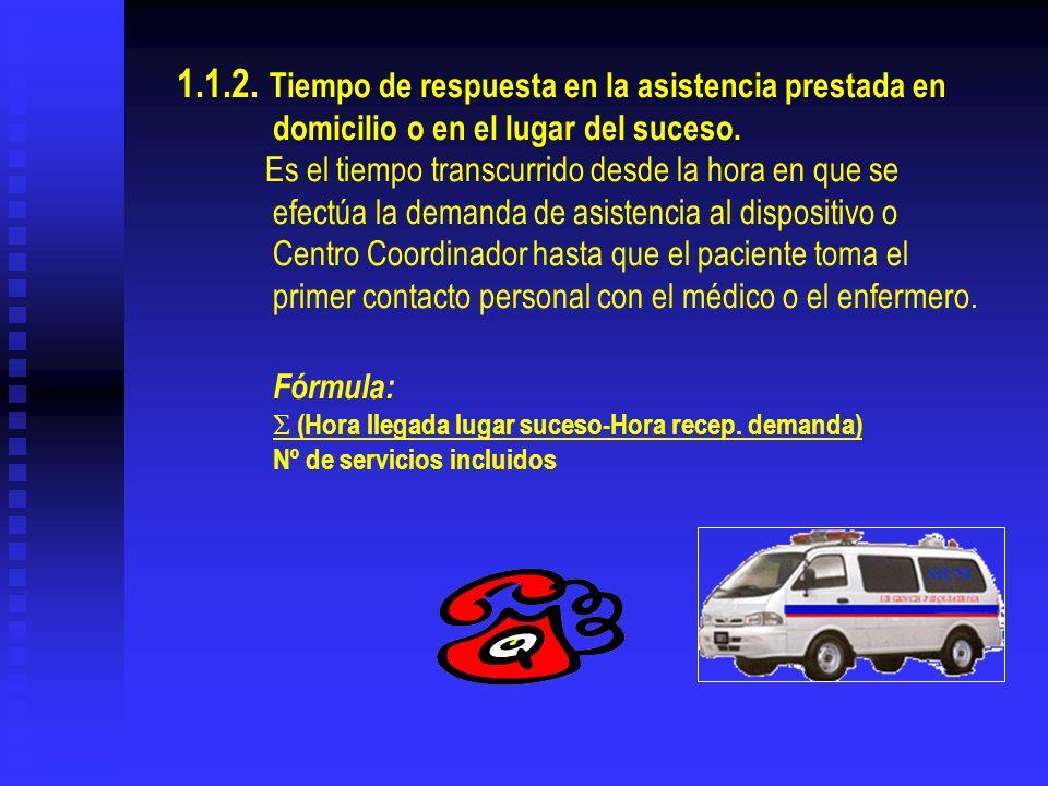 1.1.2. Tiempo de respuesta en la asistencia prestada en domicilio o en el lugar del suceso. Es el tiempo transcurrido desde la hora en que se efectúa