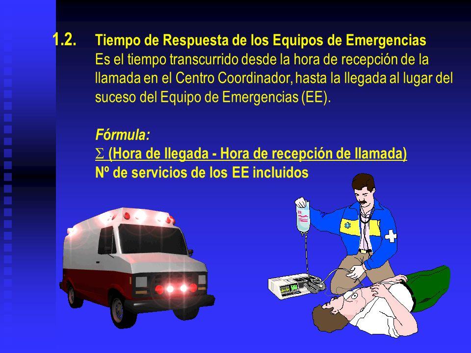 1.2. Tiempo de Respuesta de los Equipos de Emergencias Es el tiempo transcurrido desde la hora de recepción de la llamada en el Centro Coordinador, ha