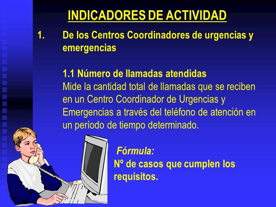 1.De los Centros Coordinadores de urgencias y emergencias 1.1 Número de llamadas atendidas Mide la cantidad total de llamadas que se reciben en un Cen