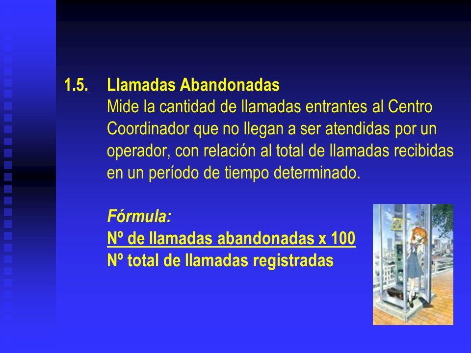 1.5.Llamadas Abandonadas Mide la cantidad de llamadas entrantes al Centro Coordinador que no llegan a ser atendidas por un operador, con relación al t