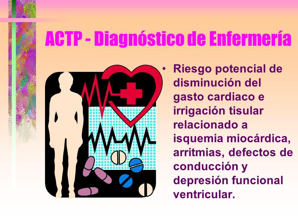 ACTP - Diagnóstico de Enfermería Riesgo potencial de disminución del gasto cardiaco e irrigación tisular relacionado a isquemia miocárdica, arritmias,