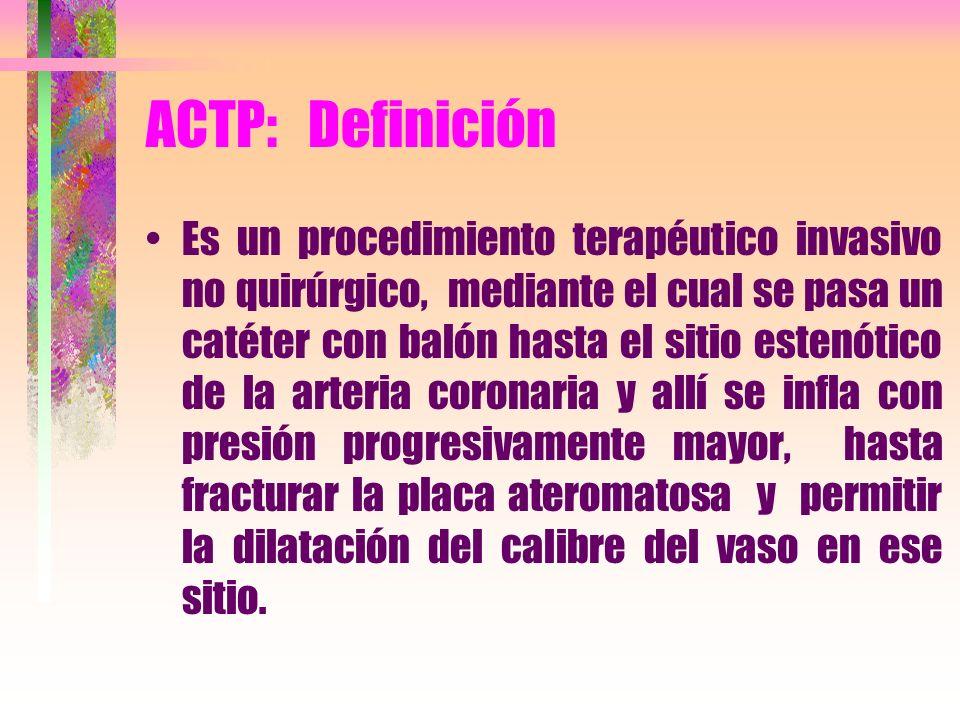 ACTP: Definición Es un procedimiento terapéutico invasivo no quirúrgico, mediante el cual se pasa un catéter con balón hasta el sitio estenótico de la