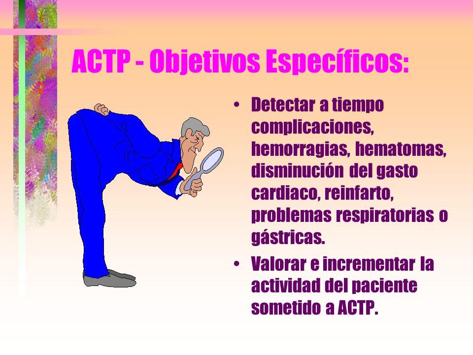 ACTP - Objetivos Específicos: Detectar a tiempo complicaciones, hemorragias, hematomas, disminución del gasto cardiaco, reinfarto, problemas respirato