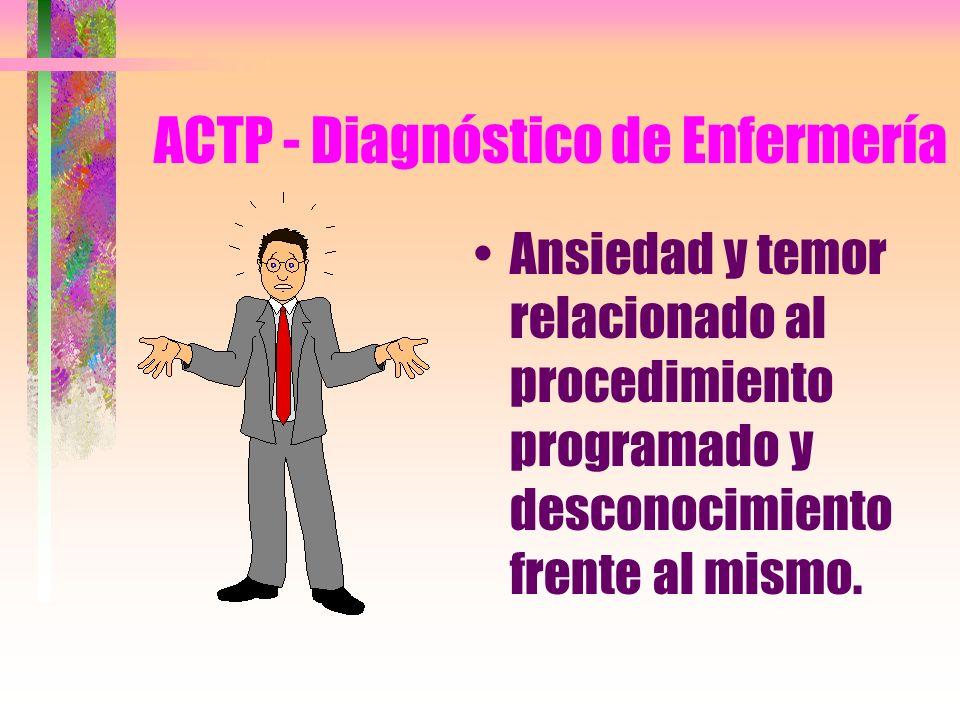 ACTP: Ansiedad y temor relacionado al procedimiento programado y desconocimiento del mismo.