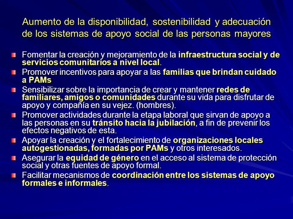 Aumento de la disponibilidad, sostenibilidad y adecuación de los sistemas de apoyo social de las personas mayores Fomentar la creación y mejoramiento de la infraestructura social y de servicios comunitarios a nivel local.
