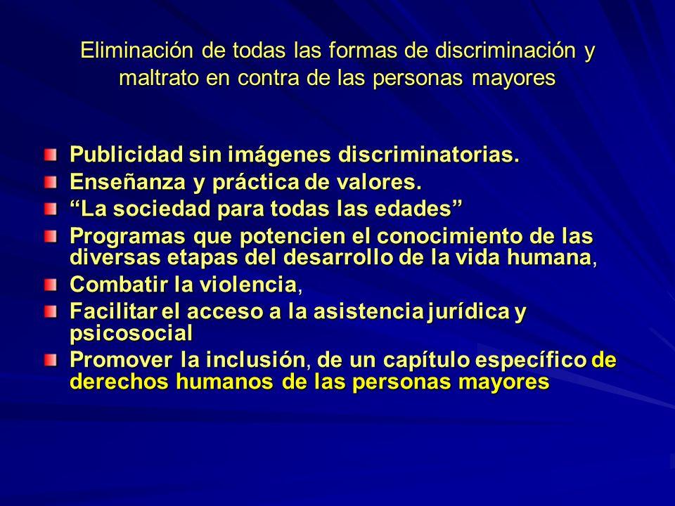 Eliminación de todas las formas de discriminación y maltrato en contra de las personas mayores Publicidad sin imágenes discriminatorias.
