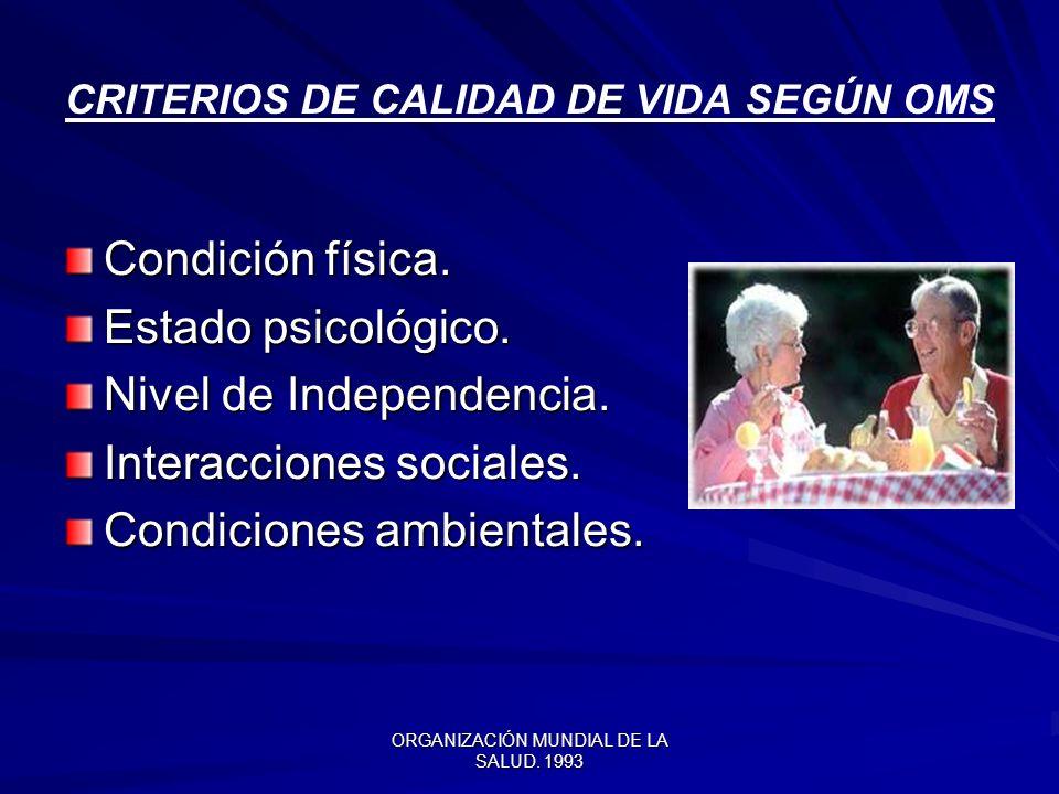 ORGANIZACIÓN MUNDIAL DE LA SALUD.1993 CRITERIOS DE CALIDAD DE VIDA SEGÚN OMS Condición física.