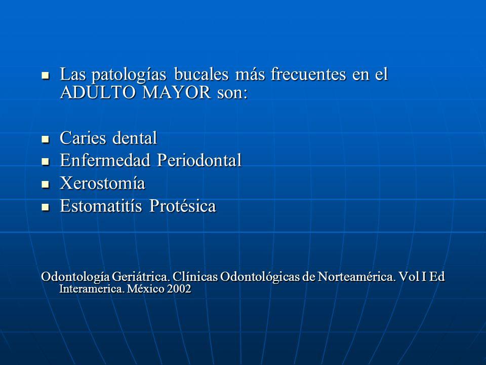 Las patologías bucales más frecuentes en el ADULTO MAYOR son: Las patologías bucales más frecuentes en el ADULTO MAYOR son: Caries dental Caries dental Enfermedad Periodontal Enfermedad Periodontal Xerostomía Xerostomía Estomatitís Protésica Estomatitís Protésica Odontología Geriátrica.