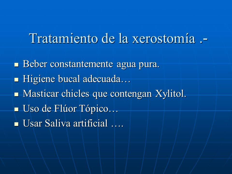 Tratamiento de la xerostomía.- Beber constantemente agua pura.