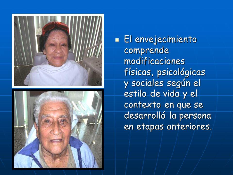 El envejecimiento comprende modificaciones físicas, psicológicas y sociales según el estilo de vida y el contexto en que se desarrolló la persona en etapas anteriores.